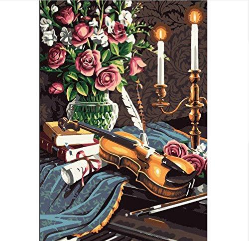 Vanzelu Viool Kaars Bloem Landschap Knutselen Digitaal Schilderij Moderne wand Kunstst Canvas Uniek Geschenk Home Decor 40 x 50 cm No Frame