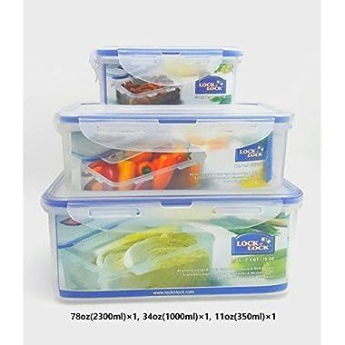 Lock & Lock Plastic Food Storage Airtight Container Set (2300ml/78oz+1000ml/34 oz+ 350ml/11oz )