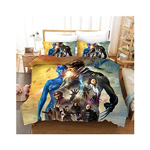 UNILIFE Wolverine Duvet Cover Set 3 Pieces X-Men Duvet Cover with Pillowcase 3D Printed Bedding Set Reversible anti allergy