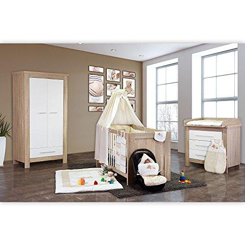 Babyzimmer Enni 21-tlg. in der Farbe Sonoma/Weiß mit 2 türigem Kl. + Textilien Sleeping Bear, Beige