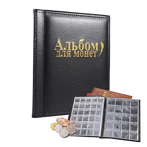 SOULONG Raccoglitore per Collezione di Monete, Moneta Tasche, Album Portamonete 250 Tasche, Nero