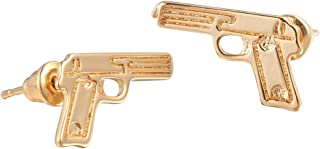 Unisex 18K Gold Plated Smooth Face Pistol Gun Charm Stud Earring