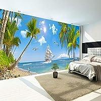 カスタム3D壁画写真壁紙海ビューココナッツツリーヨットブルー壁紙写真壁絵画装飾リビングルームベッドルーム背景壁-400X240CM