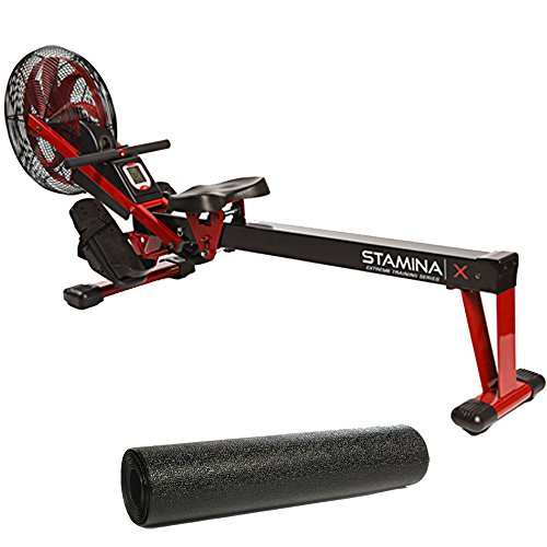 Stamina X Air Rower,Red Bundle with Fold-to-Fit Folding Equipment Mat (84-Inch by 36-Inch)