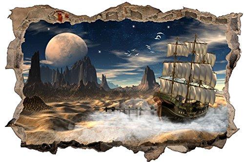 Planet Mond Schiff Fantasy Wandtattoo Wandsticker Wandaufkleber D1200 Größe 70 cm x 110 cm
