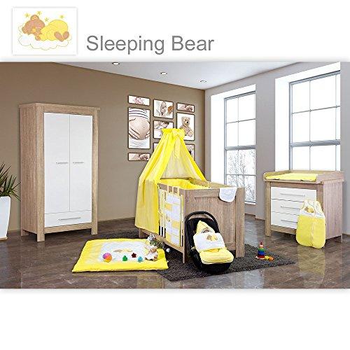 Babyzimmer Enni 21-tlg. in der Farbe Sonoma/Weiß mit 2 türigem Kl. + Textilien Sleeping Bear, Gelb