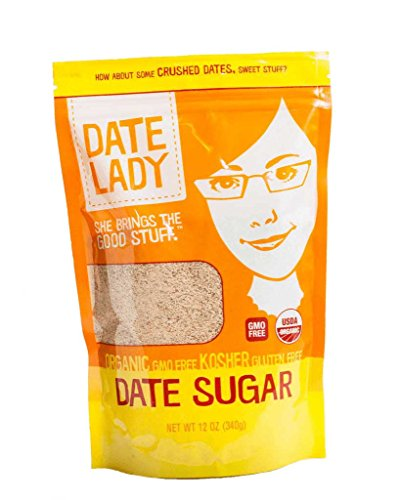 Date Lady Pure ORGANIC Date Sugar NON-GMO, VEGAN, GLUTEN-FREE & KOSHER A Complete Whole Food Sweetener and Great Sugar Alternative in Baking 12oz 1
