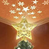 GOKKCL Christmas Tree Topper Lighted with LED Snowflake Projector Lights, Lighted Star Tree Topper for Christmas Tree Decorations