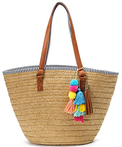 Straw Beach Bags Tote Tassels Bag Hobo Summer Handwoven Shoulder Bags Purse With Pom Poms Lightbrown