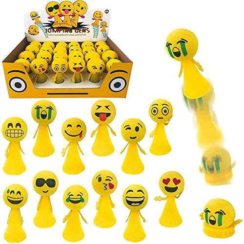 Jumping Emoji Popper Spring Launchers Toy Bouncy Ball Party Favors Supplies (24 Pieces)