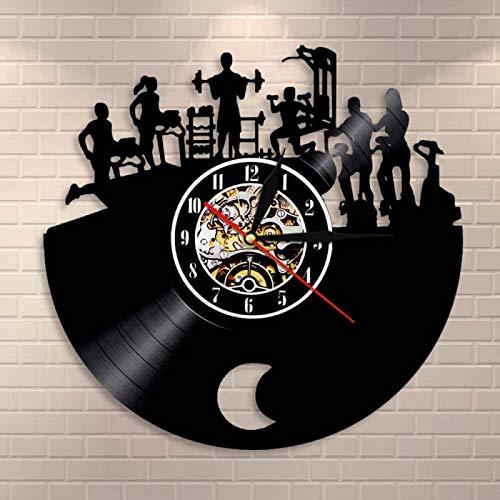 LIMN Gym Wall Clock Fitness Vintage Vinyl Record Clock Bodybuilder Decorative Clock Sport Gym Activity Workout Wall Decor