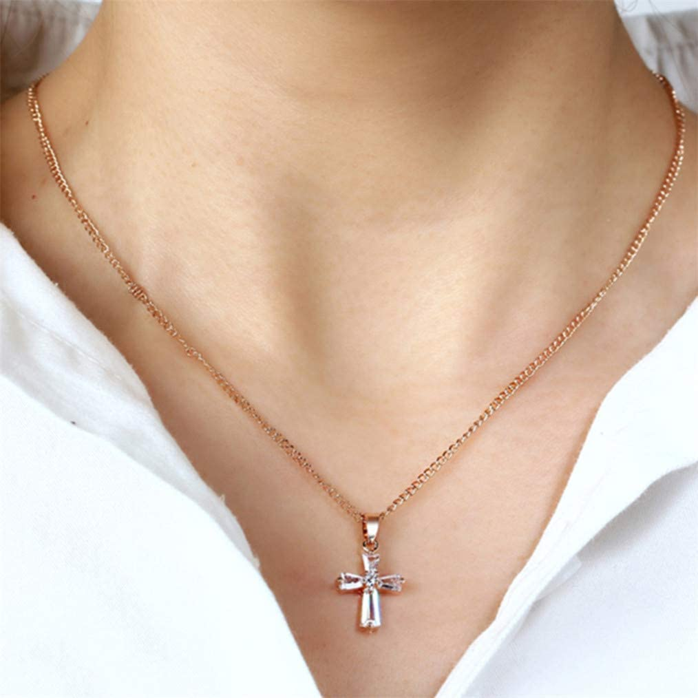 Cngstar Crystal Cross Pendant Necklaces Long Cubic Zirconia Rhinestone Necklace Sweater Chain Accessories for Women