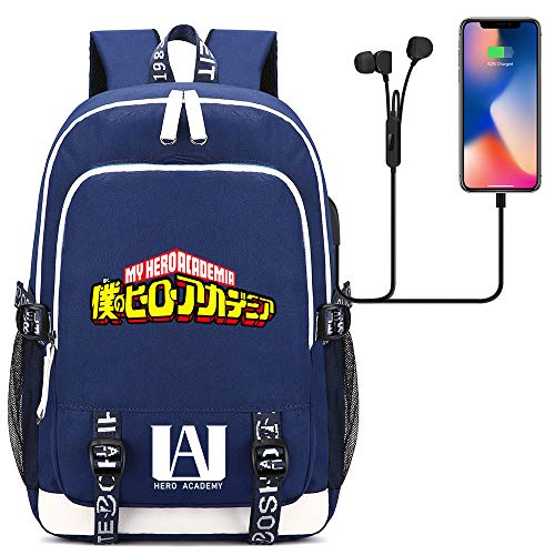 Outdoor Oxford Backpack Ladies Learning Backpack Laptop Backpack USB Port 45cm*30cm*15cm Blue