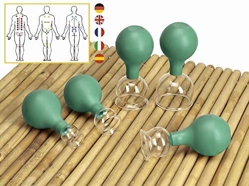 Lunata [Upgrade 2020] 5er Schröpfglas Set mit Saugball, 20-30-40-50-60 mm, Schröpfgläser für eine professionelle Schröpfmassage um Verspannungen lösen und Schmerzen lindern, Farbe: Grün