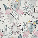 Kt KILOtela Tela por Metros de loneta resinada - para mantelería Antimanchas, Cojines, Bolsos - Tacto Suave Textil - Largo a elección de 50 en 50 cm | Flamencos Tropical - Rosa, Verde