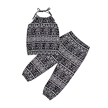 Kids Baby Girls Boho Elephant Floral Halter Tops and Harem Pants Clothes Set Baby Girl Summer 2 Piece Outfits  Elephant Black 2-3T