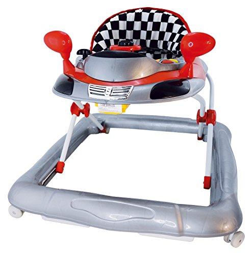 Bieco Baby Lauflernhilfe | 3in1 | Gehfrei baby ab 6 Monaten | Baby-Walker | Spielcenter mit Aktivität&Melodien | Rennwagen rot | kippsicher | höhenverstellbar | Schaukelfunktion