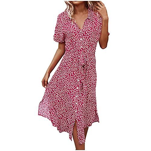 FQZWONG Dress for Women Casual Solid V Neck Short Sleeve Chiffon Print Ruffle Frenulum Dress for Holiday Dating Beach(Pink,Medium)