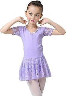 Deylaying ガールズ 子供 半袖 レオタードドレス - バレエダンス スカート V-ネック レース チュチュ シャーリング ダンスウェア