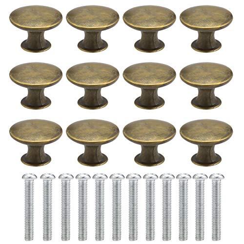 Phoetya 12 Stück Schubladenknöpfe mit Schrauben, Vintage Bronze Möbelknöpfe Schubladengriffe Türgriffe Runde Schrankknöpfe Griffe Schrank Schublade Türgriffe für Schublade, Kommode, Kinderzimmer