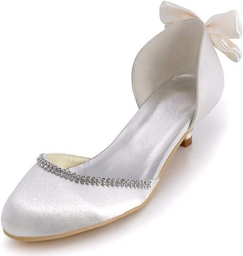 Qiusa MesLes dames dames dames Bowknot 2 Talon Satin D-Orsay Chaussures de Mariage pour la mariée (Couleuré   Ivory-5cm Heel, Taille   7 UK) 55e