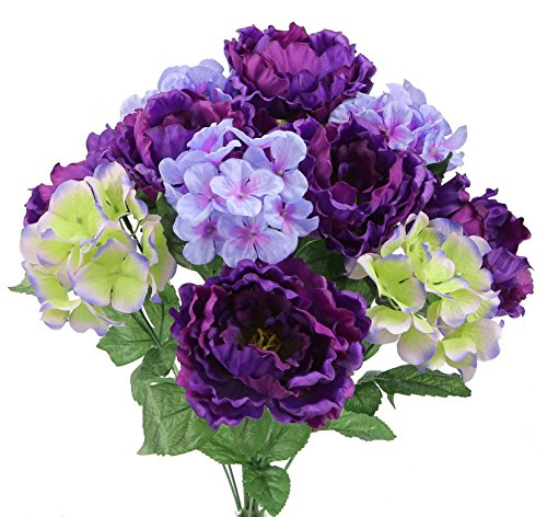 Admired By Nature GPB7320-PU/PERWKL MX 12 Stems Artificial Full Blooming Flowers, Purple Periwinkle Mix