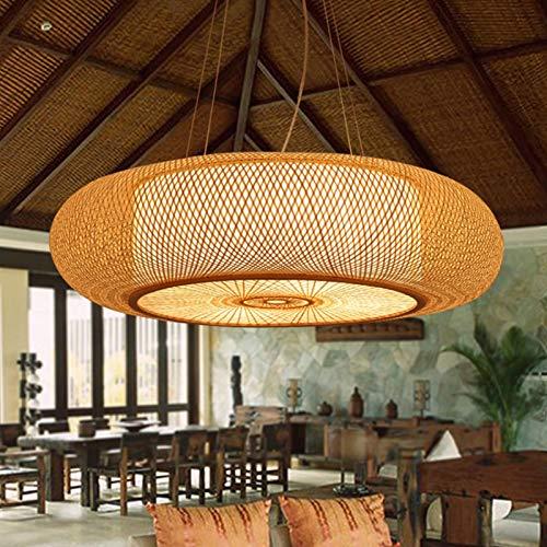 E27 Pendellampe Retro Hängeleuchten Natürlichen Bambus Pendelleuchte Vintage Gewebte Rattan Lampenschirm Kronleuchter Höhe Verstellbare Hängelampe Beleuchtung Restaurant Teestube Café Deckenlicht,60cm