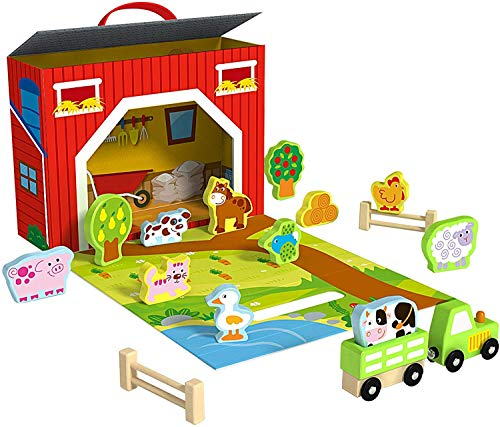 Pidoko Kids Farm Toys - Foldable Play Set - Barn Includes 17 Pcs Accessories - Wooden Toys - Great Gift for 3, 4, 5, and 6 Year Olds