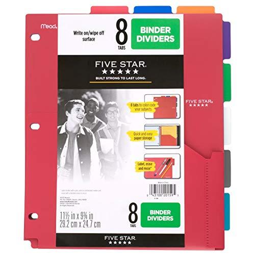 Five Star 8-Tab Binder Dividers with Pocket Multicolor