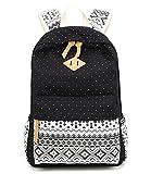 Abshoo Casual Canvas Dot Backpack Cute Lightweight Teen Girls Backpacks (Black)