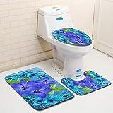 U/A Tappeto per Bagno Matbathroom 3D e Tappetino per WC Coprimaterasso Natalizio in 3 Pezzi 50X80 40X50 35X45