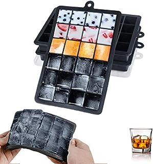 LessMo Bandeja de Cubitos de Hielo, moldes de Cubitos de Hielo de Silicona con Tapas Antideslizantes (Negro)