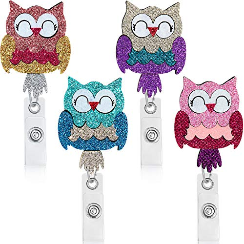 4 Pieces Colored Owl Badge Holder Bling Bling Retractable ID Badge Reel Holder with Swivel Alligator Clip Glitter Cloth Badge Reel Nursing Name Badge Reel Holder for Students Doctors Staff