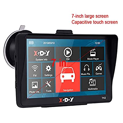 Xgody GPS Navigation for Car Truck Drivers 7-inch Touch Screen GPS Trucking Navigation System with Sunshade 8GB ROM SAT NAV System Navigator Driving Alarm Lifetime Map Updates