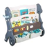 RedSwing Kids Toy Storage Organizer, Book and Toy Organizer, Kids Bookshelf with 2 Storage Bins for Children's Playroom, Bedroom, Blue