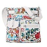 Bolso bandolera con múltiples bolsillos para mujer, bolso de hombro de cuero vegano lavado ultra suave (3296L-H#1719#L05/8901#87 RED/WHITE)