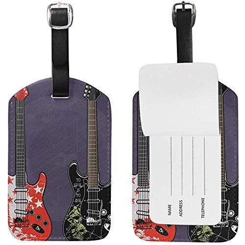 Guitarras eléctricas Retro Patrón de Arte Etiquetas de Equipaje Etiqueta de Bolsa...