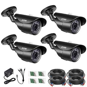 ZOSI 4 Pack 1080P 1920TVL Home Security Cameras Outdoor Indoor,120ft Night Vision IP67 Weatherproof 2MP Surveillance Camera,Work For 720P/1080P/5MP/4K HD-TVI,AHD,CVI analog CCTV DVR System Black