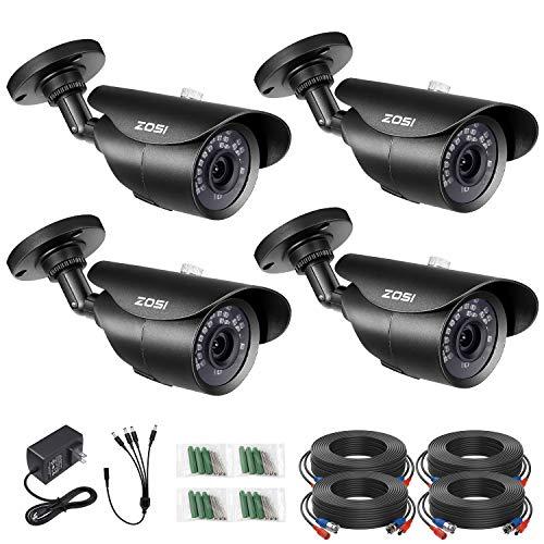 ZOSI 4 Pack 1080P 1920TVL Home Security Cameras Outdoor Indoor,120ft Night Vision, IP67 Weatherproof 2MP Surveillance Camera,Work For 720P/1080P/5MP/4K HD-TVI,AHD,CVI analog CCTV DVR System(Black)