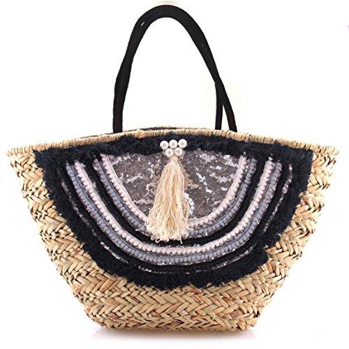 Bolso Mujer Capazo Rafia Paja Palma Diseño exclusivo Verano 2019 Cómodo personalizado Borlas y Tejidos con abalorios Beige Plata Negro y Gris
