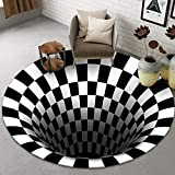 Lefran Anti-Skid Non-Woven Doormat 3D Visual Vortex Floor Rug for Home,3D Round Carpet,3D Area Rug Floor Mat,3D Rugs Bottomless Hole Optical Illusion Area Rugs-B 100x100cm(39x39inch)
