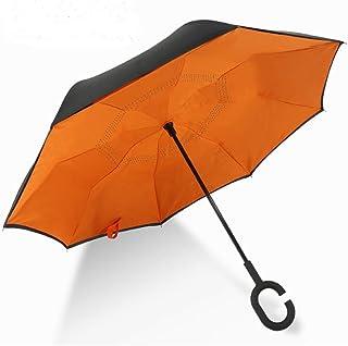 [Chi Moo]傘 さかさま長傘 逆転傘 逆さ傘 逆折り式傘 反転傘 自立傘手離れC型手元 耐風 撥水加工 晴雨兼用 ビジネス用 車用 UVカット