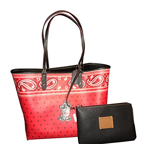 Coach F59376 Disney Mickey Mouse Reversible Prairie Bandana Print QB/Bright Red Black City Tote Handbag With Wristlet