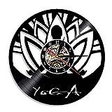 tyjsb Reloj de Pared con Disco de Vinilo para práctica de autoconocimiento de Yoga, Reloj de Pared Decorativo de diseño Moderno con filosofía hindú, Relojes Decorativos para el hogar