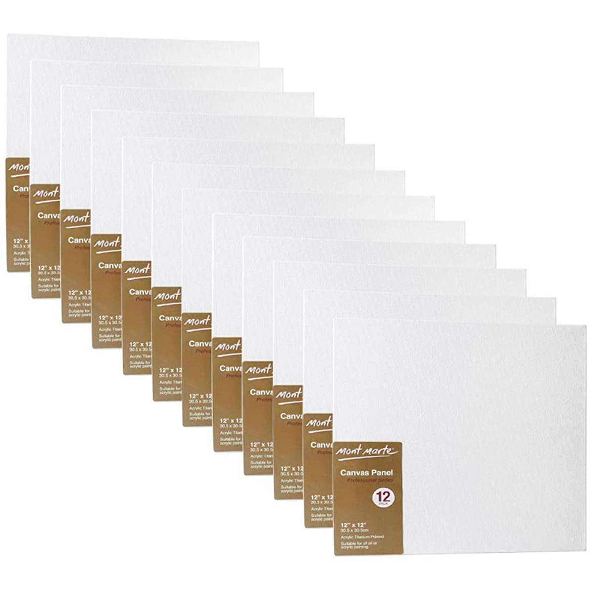 Mont Marte Canvas Panel (Pack of 24), 12 X 12 inches, Canvas Panel Great for Students to Professional Artists