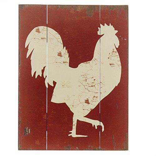 "Barnyard Designs White Rooster Cockerel Retro Vintage Wood Plaque Bar Sign Country Home Decor 15.75"" x 11.75"""