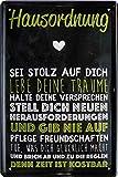 Blechschilder Cartel decorativo de metal con texto en alemán 'Hausordnung – Sei...