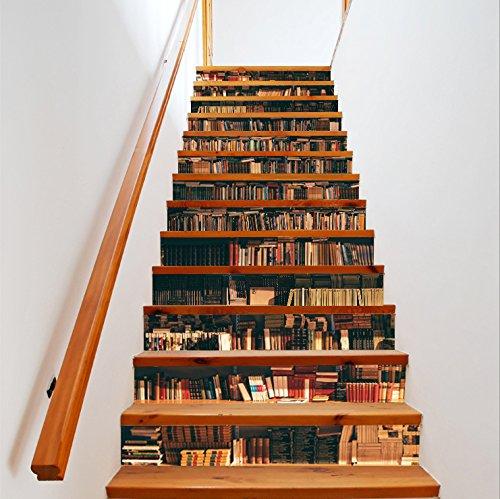 Bücherregal Dekofolie Selbstklebend Treppe FLFK 3D - 2
