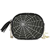 ALAZA Women's White Spider Web on Black Fashion Purses Bag with Metal Chain Strap for Travel Shopping