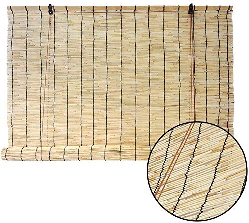 JNS Bambus-Vorhang Tür Vorhang/Reed Rollos Bambus Lifting Jalousie Innendekoration Außensonnenschutz Breathable Partition Tür-Fenster-Strohvorhang Anpassbare/Familie Schatten Bambusrollos